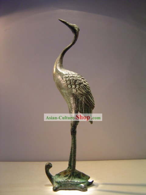 Chinese Classic Archaize Bronze Ware-Ancient Palace Crane Standing on Tortoise Statue