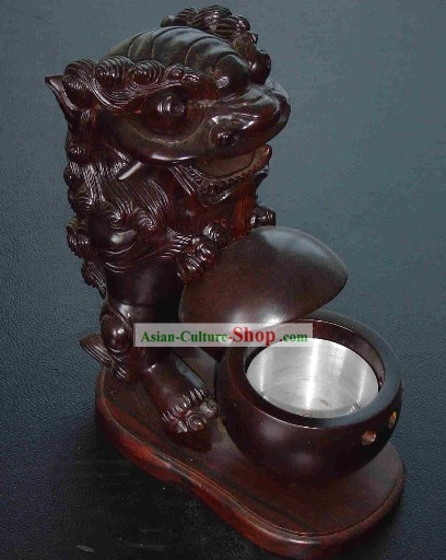 Chinese Classic Hand Carved Lion Playing Ball Wood Ashtray