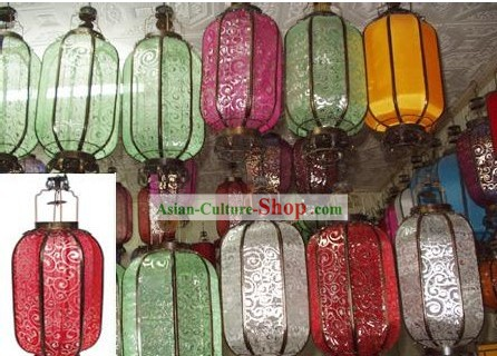 Large Chinese Traditional Silk Iron Lantern