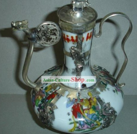 Chinese Ancient Emperors Silver and Jade Kettle
