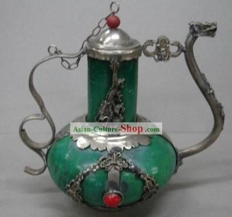 Chinese Ancient Palace Style Green Jade and Silver Kettle