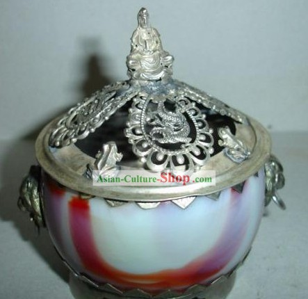 Chinese Traditional White and Silver Censer