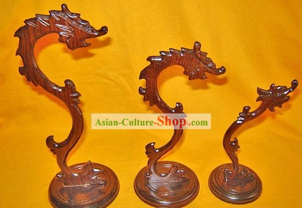 Chinese Palace Hand Carved Dragon Penholder(Three Pieces Set)