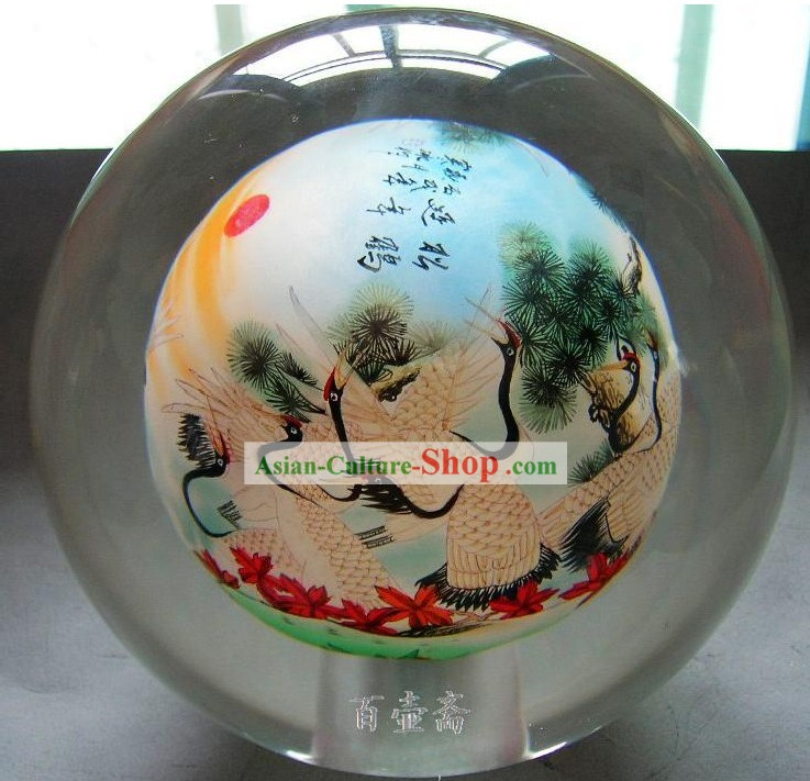 Chinese Snuff Bottle With Inside Painting-Cranes