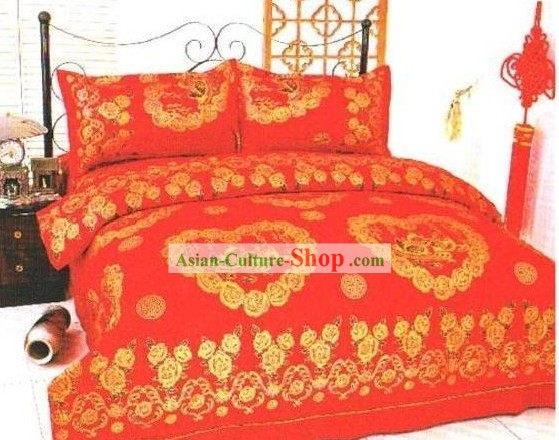 Chinese Classical Cotton Wedding Bed Sheet Set(Four Pieces)-Love