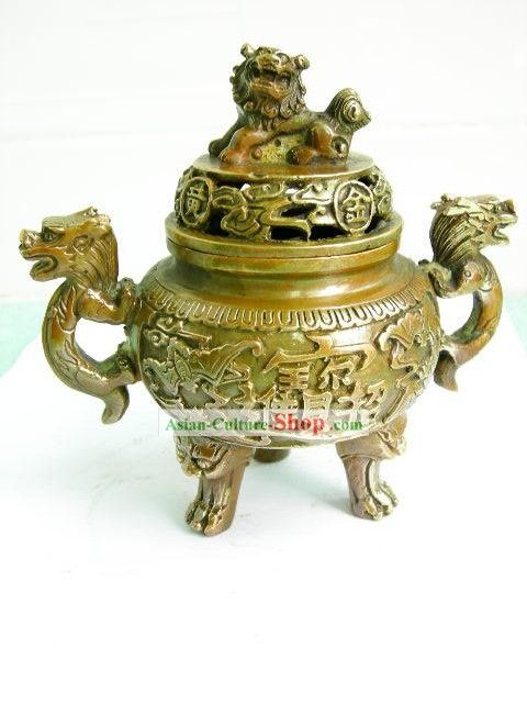 Chinese Classical Brass Collectibles-Lion Censer
