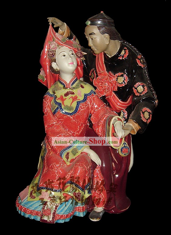 Chinese Stunning Colourful Porcelain Collectibles-Newly Wedding Couple