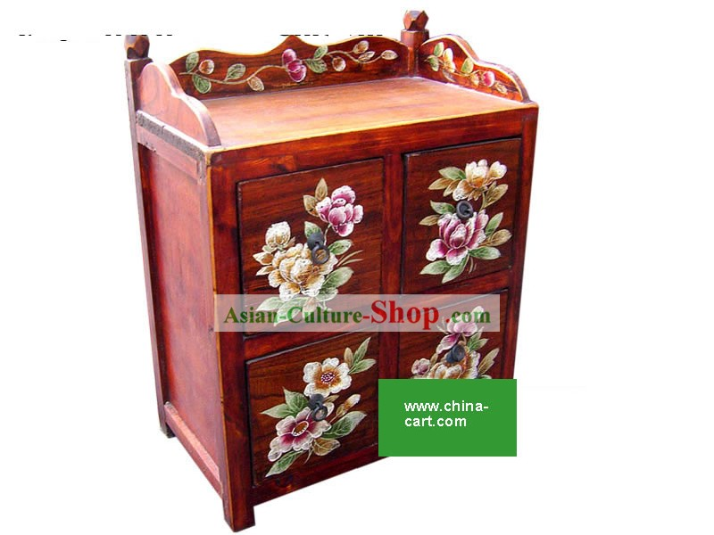 Chinese Red Hand Painted Flowery Four Drawers Storage Cabinet