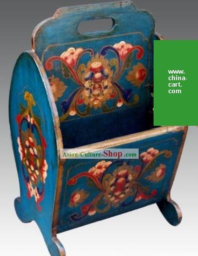 Chinese Classic Blue Treasure Flower Newspaper Box