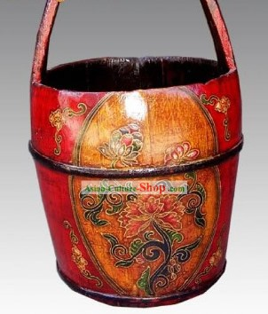 Chinese Lucky Red Coloured Painting Barrel