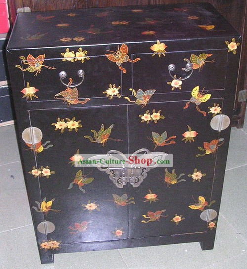 Chinese Hand Made Black Wood Butterfly Cabinet