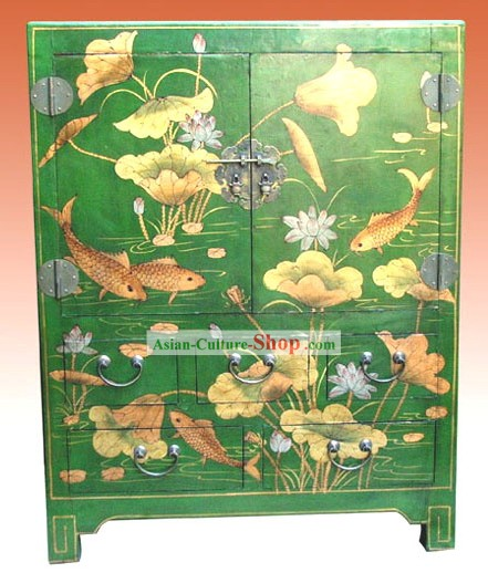 Chino clásico Green Lotus carpa Gabinete