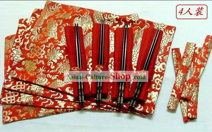 Chinese Classic Silk Red Dragon Dinner Cloth Set