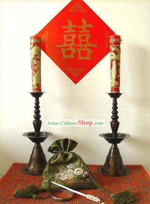 Chinese Classic Wedding Candleholder Couple (with Dragon and Phoenix Xi Candles)