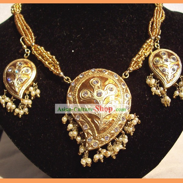 Indian Fashion Jewelry Suit-Golden Phoenix Feather