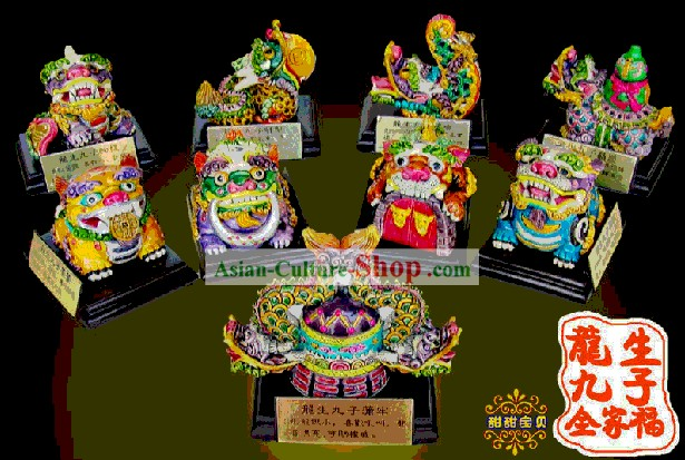 Chinese Classical Cochin Ceramics Statues-Nine Sons of the Dragon