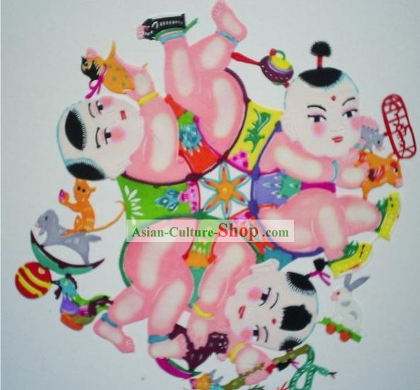 Chinese Paper Cuts Classics-Six Children