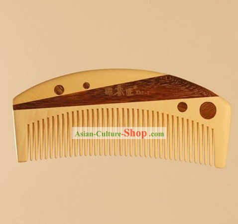 Chinese Carpenter Tan 100 Percent Hand Made and Carved Natural Wood Comb