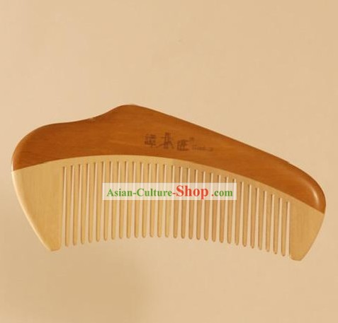 Chinese Carpenter Tan 100 Percent Hand Made and Carved Natural Wood Comb-Suitable for All Hairs