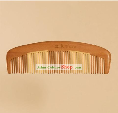 Chinese Carpenter Tan 100% Hand Made and Carved Natural Wood Common Comb