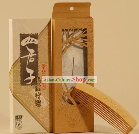 Chinese Carpenter Tan 100 Percent Natural Wooden Combs-Bamboo(Man of Honour)