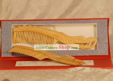 Chinese Carpenter Tan Hand Made Mirror and Comb Gift Set