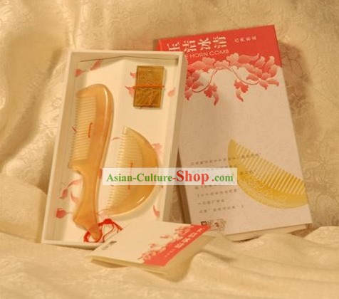 Chinese Carpenter Tan Hand Made Mirror and Comb Pure and Noble Gift Set