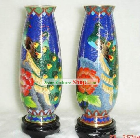Chinese Cloisonne Vase-Peacock Beauty(Pair)