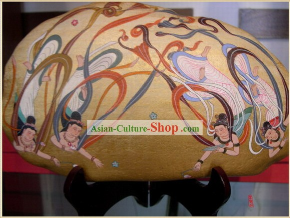 Chinese Dunhuang Hand Painted Cobblestone Mural Art-Four Dancing Fairies