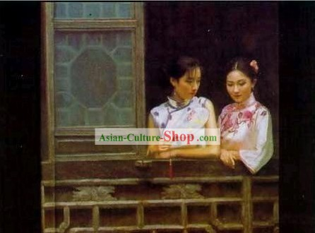 Chinese Oil Painting-Ancient Woman Enjoying View