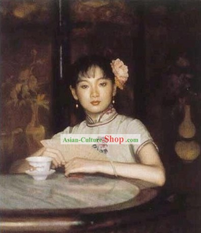 Chinese Oil Painting-Girl with Fan