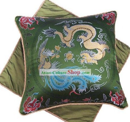 Chinese Classic Silk Cushion-Dragon and Phoenix