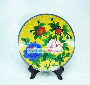 Chinese Palace Cloisonne Flower Plate