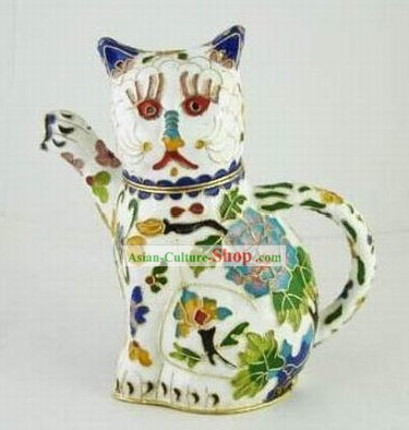 Chinese Traditional Closionne Kettle-Attracting Money White Cat
