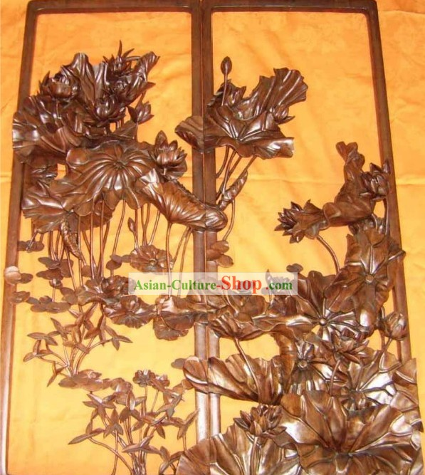 Chinese Palace Hand Carved Wooden Wall Hanging-Lotus