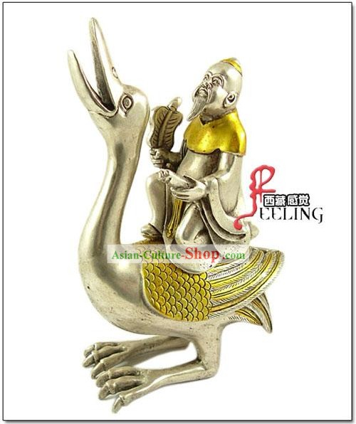 Tibetan Ancient Collectibles-Crane with Fairy