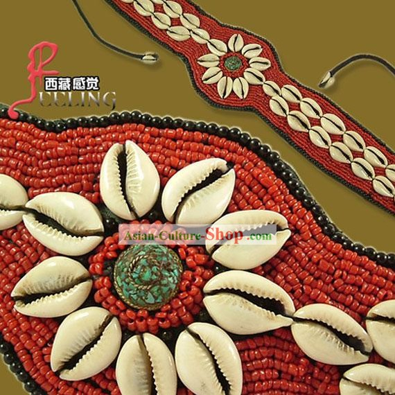 Tibetan 100 Percent Hand Made Red Coral Kallaite Decoration Belt