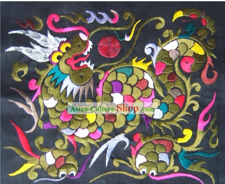 Chinese Miao Minority Silk Thread Hand Embroidery Art