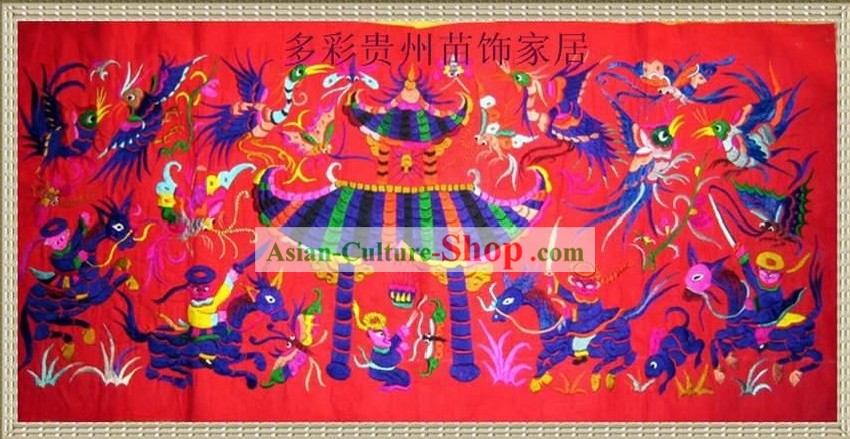 Chinese Large Miao Minority Silk Thread Hand Embroidery Art-Temple Fair