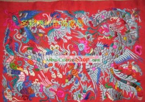Chinese Miao Minority Silk Thread Hand Embroidery Art-Lucky Creatures