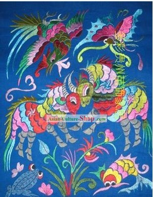 Chinese Miao Minority Silk Thread Hand Embroidery Art-Eternal Love