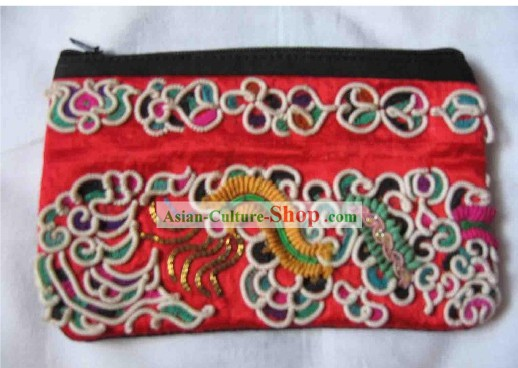 Chinese Miao Minority Silk Thread Hand Embroidery Purse