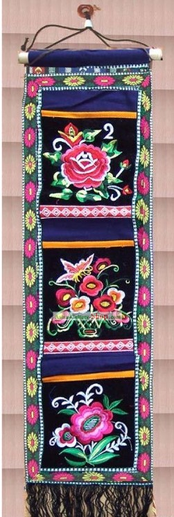 Chinese Large Miao Minority Silk Thread Hand Embroidery Convenient Bags Hanging
