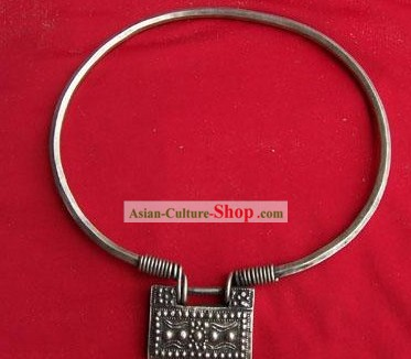 China Miao Tribe Silver Lock Necklace