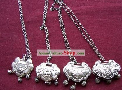 China Miao Tribe Silver Many Happy Returns Lock Necklace