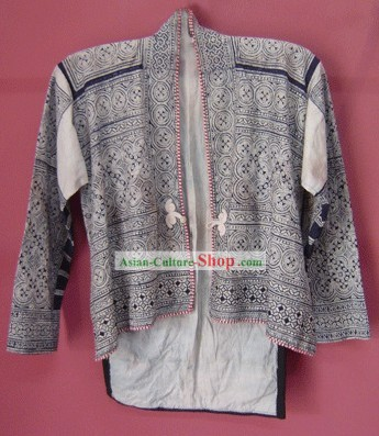 Stunning Miao Minority Silk Thread Hand Embroidery Batik Jacket for Man