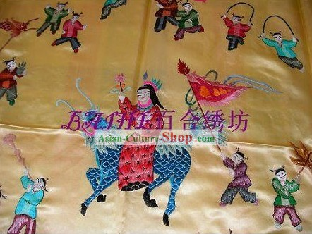 Chinese Hand Embroidery Bedcover-Hundreds of Children