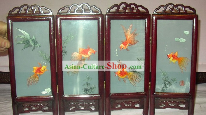 China bordado biombo Artesanía-Goldfishes