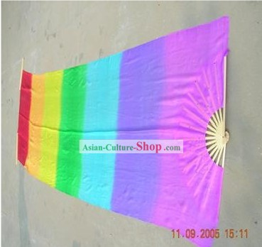 118 Inches Length Supreme Rainbow Color Silk Dance and Performance Fan