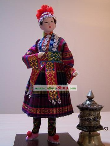 Handmade Peking Silk Figurine Doll - Ha Ni Minority Beauty